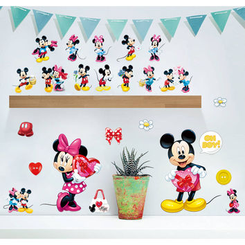 Cartoon Mickey Mouse Minnie Mouse Wall Stickers For Kids Rooms Children Room decoration window Wall Decals Diy Art gift Poster