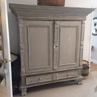 Rustic antique painted armoire