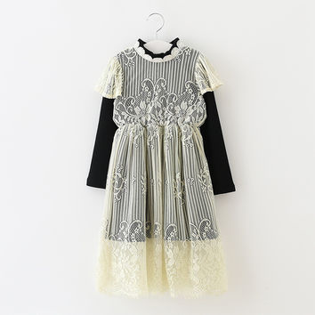 "The ""Sarah"" Girls & Tween Long Sleeve Lace Dress - Black"