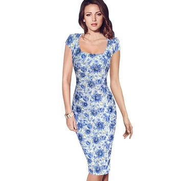 Vfemage Womens Summer Elegant Cap Sleeve Slim Casual Wear To Work Office Party Fitted Sheath Bodycon Pencil Dress 2339