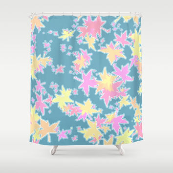 Autumn Leaves in Pastel Shower Curtain by Barbara Gelman