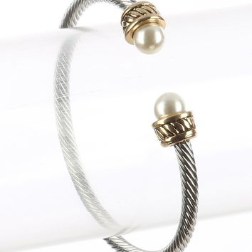 Cream Bendable Twisted Metal Pearl Cuff Bracelet