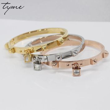 TYME Luxury brand Stainless Steel Rock Rivet Cuff Bangles Yellow Nail Love Bracelets For Women With Crystal Lock Bracelet Men