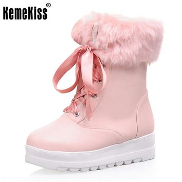 KemeKiss Size 34-43 Ladies Thick Fur Snow Boots Women Cross Tied Thick Platform Shoes Women Winter Warm Mid Calf Botas Footwear