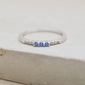 Eternity Ring w/ 3 Blue Stones - Silver
