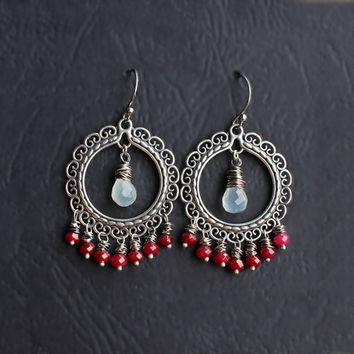 Ruby & Moonstone Chandelier Earrings, Large boho earrings, round hoop dangles, gypsy jewelry, silver jhumkas, ethic jewelry, red and white
