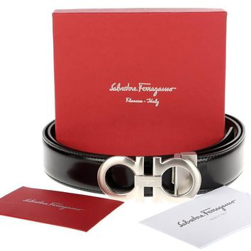 NEW SALVATORE FERRAGAMO REVERSIBLE LEATHER SILVER DOUBLE GANCIO LOGO BELT