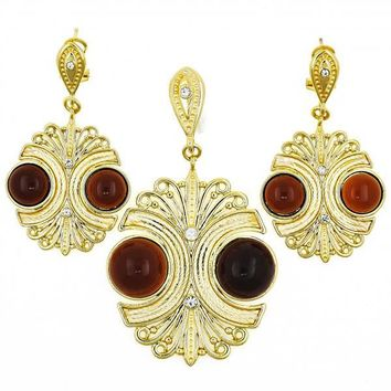Gold Layered Earring and Pendant Adult Set, Ball Design, with Opal and Crystal, Golden Tone
