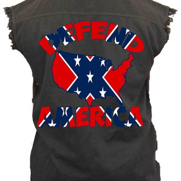 Men's Confederate Rebel Flag Sleeveless Denim Vest Confederate Rebel Flag Defend America Biker Shirt