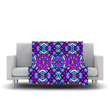 "Art Love Passion ""Kaleidoscope Dream Continued"" Purple Pink Fleece Throw Blanket"