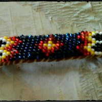 Blue seed bead barrette, southwest design, native crafts