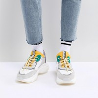 Bronx Yellow & Green Suede Chunky Sneakers at asos.com
