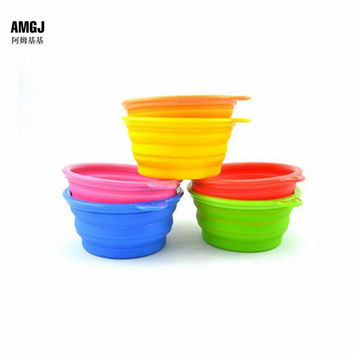 AMGJ Pet Products Silicone Pet Dog Bowl Folding Portable Bowls Drinking Food Water Bowl Eating Tool Container