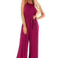 Wine Sleeveless Jumpsuit with Waist Tie and Pockets