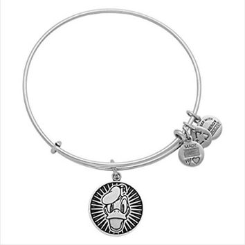 Disney World Alex and Ani Donald Duck Silver Charm Bangle Bracelet
