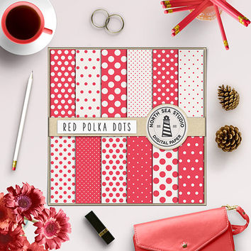 Polkadot Digital Paper Red Polkadots Invitation Paper Digital Scrapbook Kit Backgrounds For Scrapbooking Digital Background Instant Download