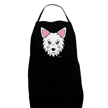Cute West Highland White Terrier Westie Dog Dark Adult Apron by TooLoud