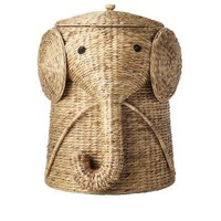 Elephant Wicker Laundry Basket Nursery Toys Home Tan