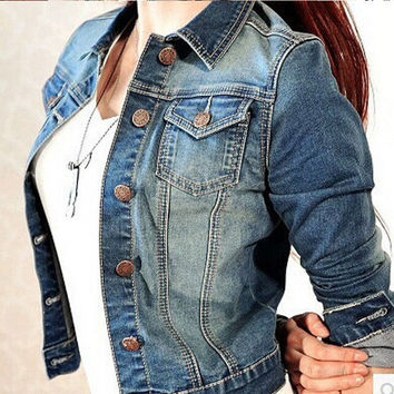 Denim Jacket for Women Autumn Newest Patchwork Slim Coat Lady Girls Denim Outerwear Plus size Woman Jeans Clothing Jackets Coat = 1929793284