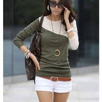Women Cotton Green Top Shirt One Size WH0384gr