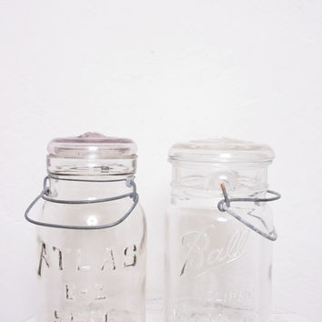 Pair of Vintage Large Glass Jars, One Ball and One Atlas for the Kitchen or Office