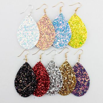 2018 Spring Summer Fashion Trendy Glitter Leather Teardrop Dangle Light Earrings Bohemian Style Ethnic Design Eardrop for Women