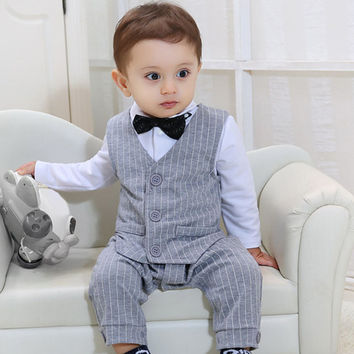 BG2 Designer Cheap Cool Baby Boy Romper Clothing Child Newborn Dress Clothes Sale Gentleman Overalls Rompers Bebes Baptism Cute
