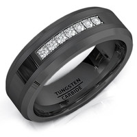 8mm Black Wedding Band Polished Tungsten Ring with Cubic Zircon Stones Beveled Edge Comfort Fit