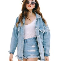 Spring Autumn Boyfriend Denim Jackets Female Turn-Down Collar Jeans Outwear Loose Brief Light Color Pocket Casual Coats