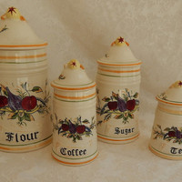 Canister Set Four Pieces-Arnart Italia Pattern-Flour Sugar Coffee Tea-Made in Japan