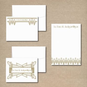 Complete Personalized Stationery Set - Note Pad and Note Cards - ART DECO DESIGN