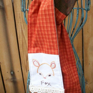 Orange Fox Hand Embroidered Fashion Scarf