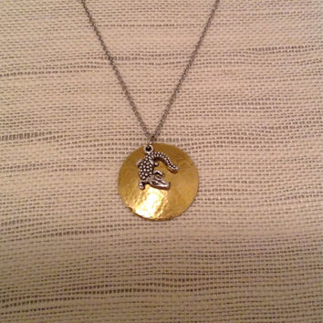 Gator on brass domed disc, personalize any way you wish.  Gators fans necklace.