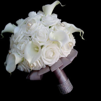 Rose & Calla Lily Wedding Bouquet Collection