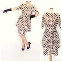 Vintage 1950s 1960s Pink Black Polka Dot Dress 50s Fitted Peplum Cocktail Dress Size Medium Party Dress Mad Men Rockabilly Wiggle Dress