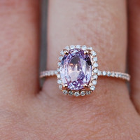 Lavender peach champagne sapphire 14k rose gold diamond ring engagement ring 2.58ct sapphire ring. Engagement ring by Eidelprecious