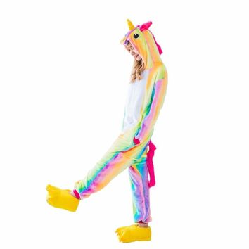 Onesuit Animal Stitch Rainbow Star Unicorn Panda Bear Pikachu Onesuit Adult Unisex Cosplay Costume Pajamas Sleepwear For Men Women