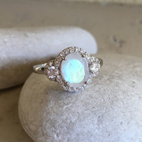 Art Deco Engagement Ring- Moonstone Ring- Promise Ring- Wedding Ring- Sterling Silver Ring- Statement Ring- Ring- Unique Engagement Ring
