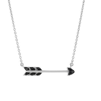 Silver Black+Rhodium Finish 5-1.3mm Sideways Arrow 1.3mm Oval link Necklace with 0.09ct.Black Diamond with LOBSTER CLASP!!