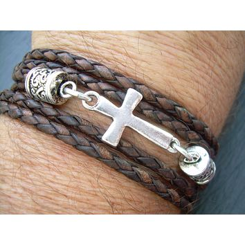Mens Bracelets Leather, Braided Leather Bracelet, Mens Bracelets, Cross Bracelet, Antique Brown, Cross, Religious Gift, Womens Bracelet,