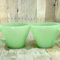 2 Fire King Jadeite Tea/ Coffee Cups Swirl Shell Pattern