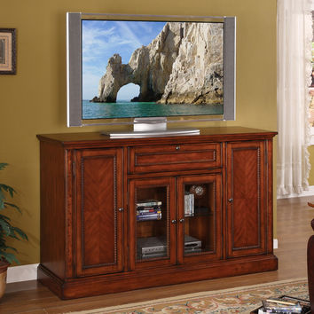 Cambridge Super 60 Inch Entertainment Cabinet TV Stand Distressed Chestnut