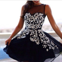 Appliques Black Homecoming Dress,Chiffon A-line Homecoming Dresses