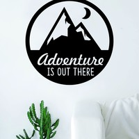 Adventure is Out There Quote Wall Decal Sticker Bedroom Living Room Art Vinyl Beautiful Inspirational Moon Travel Mountains Wanderlust