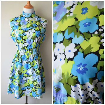 60s Mini Dress in Blue, Green, Black Mod Floral Print // Elastic Waist, Nehru High Collar // Twiggy Style, Bright Pop Art Print // Sz M/L