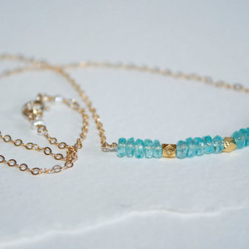 Neon Blue Apatite & Thai Karen Hill Tribes Gold Vermeil Faceted Beads Delicate Gold Fill Chain Necklace Kaya Jewelry