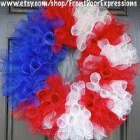 The Red White and Blue  Patriotic wreath by FrontDoorExpressions