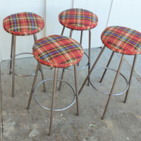 Bar Stools Set of 4 Metal Funky Plaid Mid Century 1960's Swivel Industrial Steel Counter Seating Vintage Chairs Furniture Kitchen Dining
