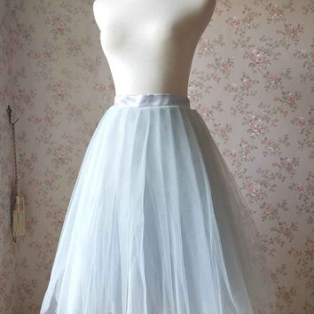 Adult Gray Tutu. Gray Tulle skirt.  Midi Skirt. Pleated Tutu Skirt. Ladies Tutu Skirt. Custom Gray Skirt. 2016 Gray Bridesmaid Skirt(T185)