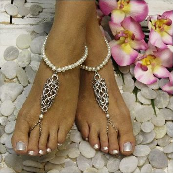 CAROLINE pearl barefoot sandals - silver